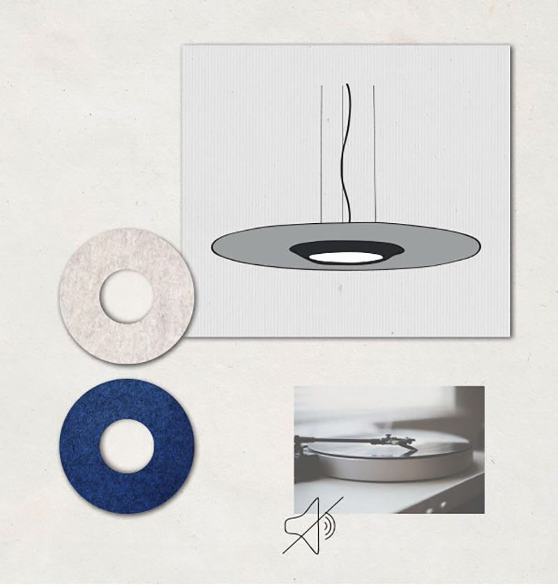 Lámpara que absorbe el sonido
