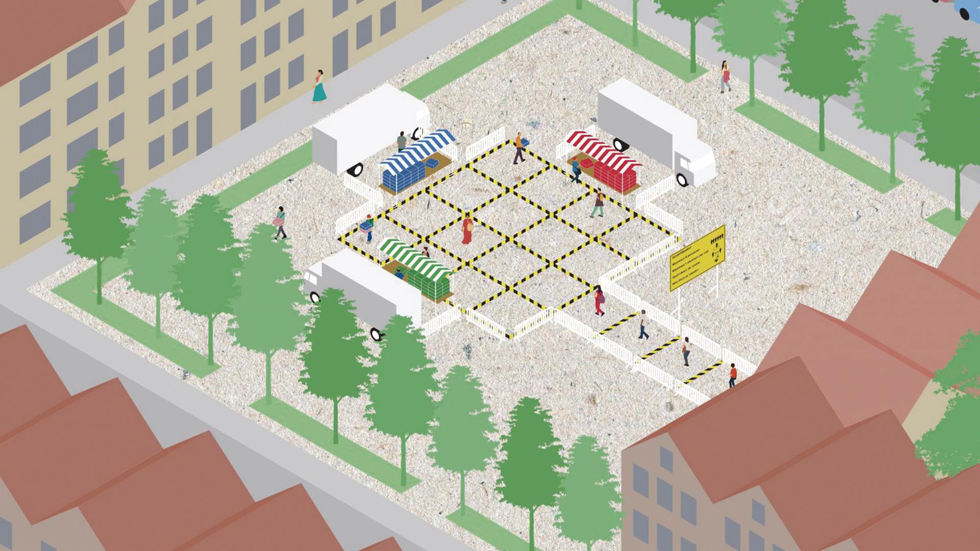 El distanciamiento social en un mercado o feria de una ciudad