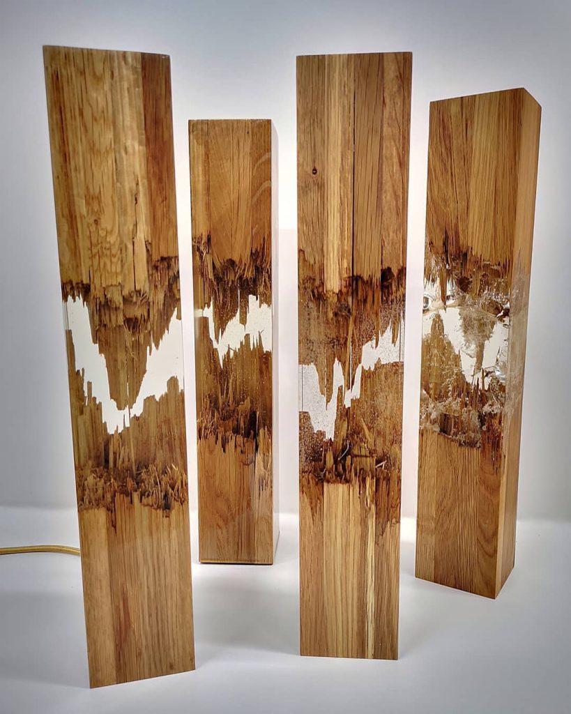 Lámparas. Resina y madera