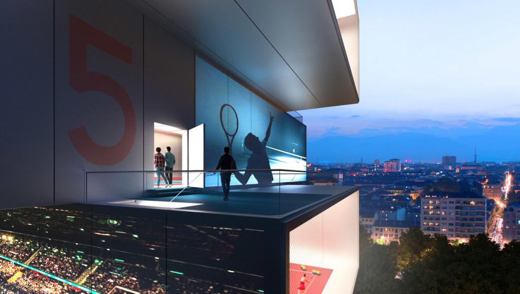 Un rascacielos para jugar al tenis