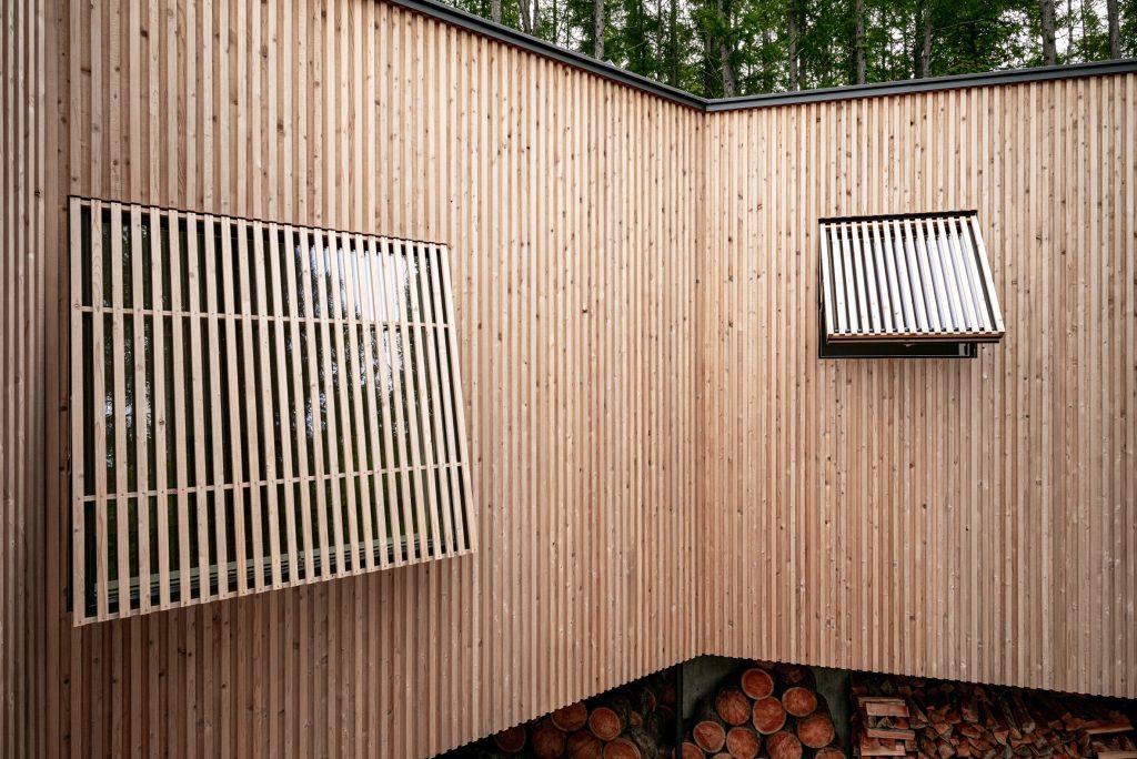 Una casa en el bosque con forma de bosque