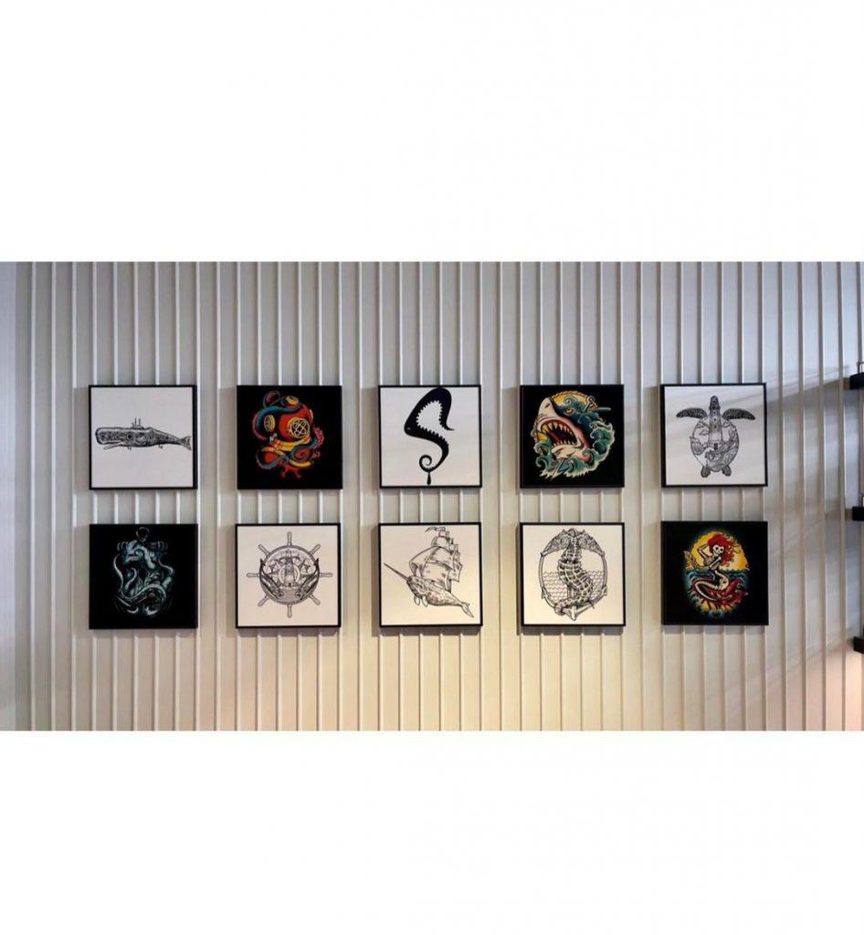 Obras de Alexis Diaz inspiradas en el mundo marino.