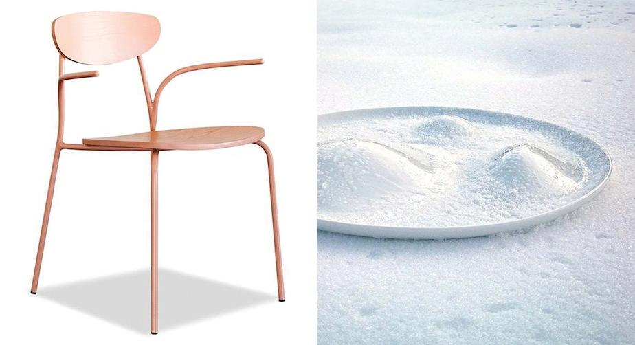 Muebles y objetos en tonos Clarify de Pantone. Foto: Pantone.