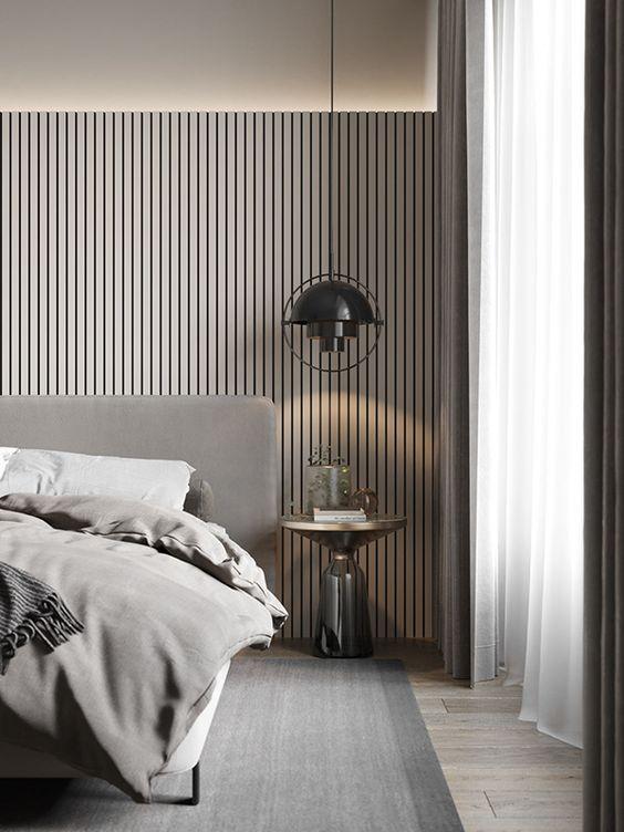 Un dormitorio con tonalidad greige.