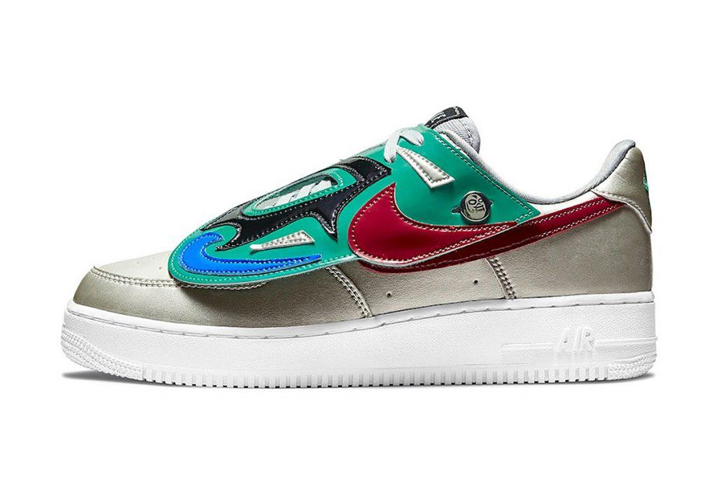 El perfil de un sneaker Nike inspirado en la lucha libre mexicana.