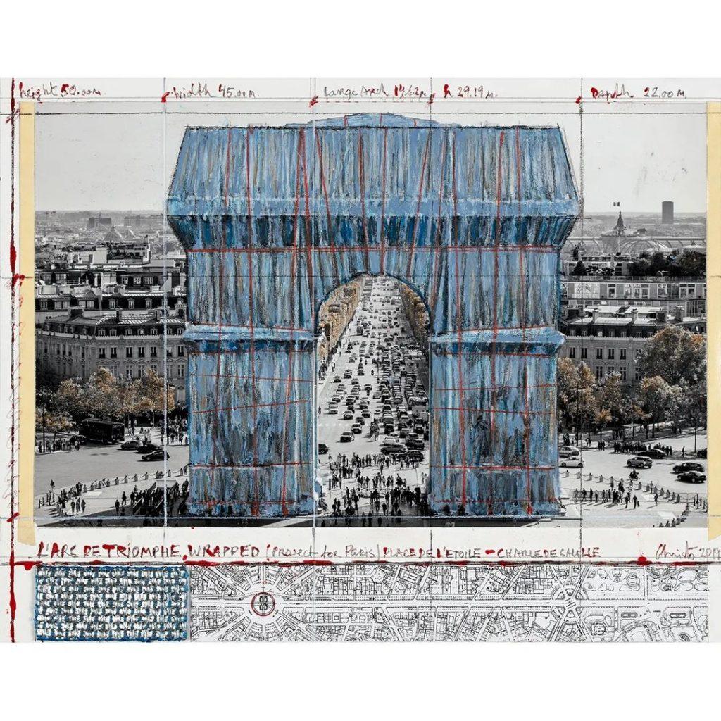 El proyecto sobre el frente del Arco del Triunfo como lo imaginaron Christo Vladimirov Javacheff y Jeanne-Claude.