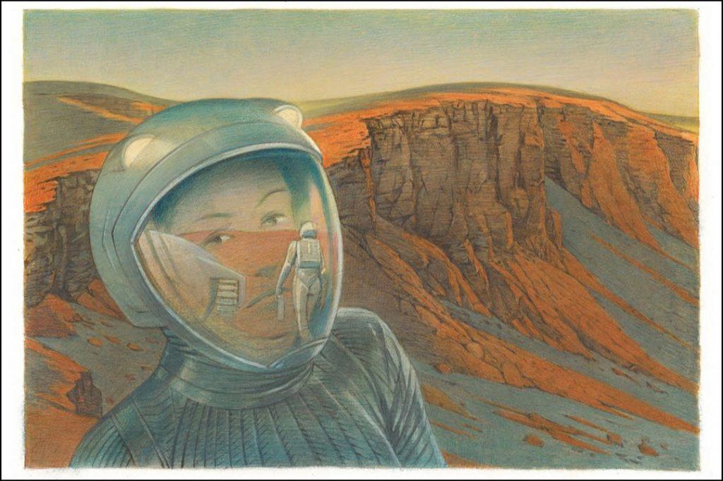 Louis Vuitton Traval Books Mars imagina un viaje de exploraci´ón de un hombre y una mujer al planeta rojo.