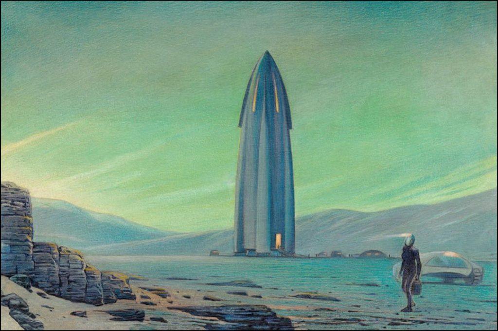 Las ilustraciones del Travel Book de Louis Vuitton a Marte son de François Schuiten.