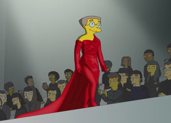 Smithers con un súper vestido con larga cola.